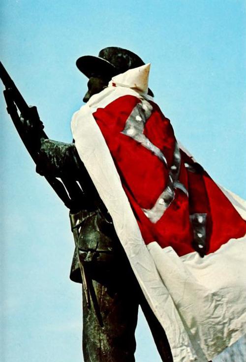 Silent Sam with Ku Klux Klan robe, 1970