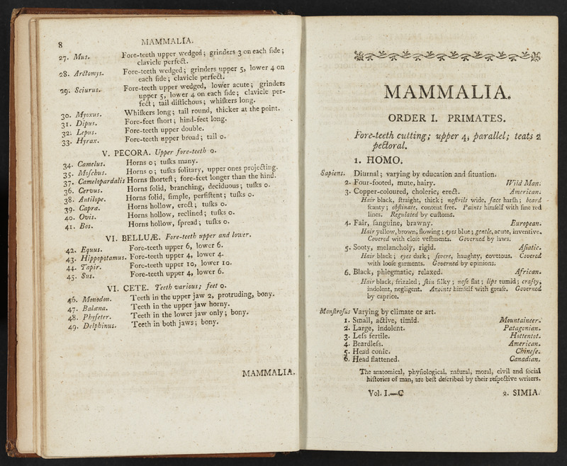 Open copy of A General System of Nature by Carl von Linne showing the classification scheme for Mammalia