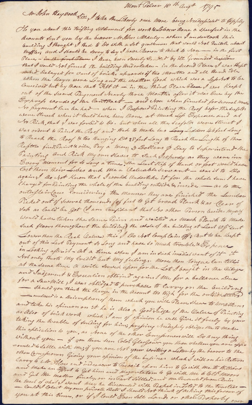 18 August 1795. James Patterson to John Haywood.