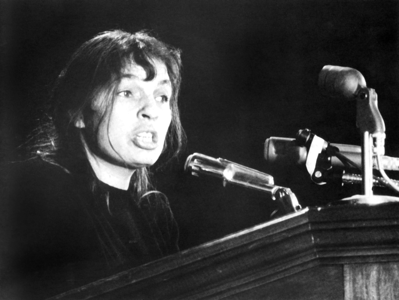 Photograph, Mary Smith speaking at a public rally in Memorial Hall