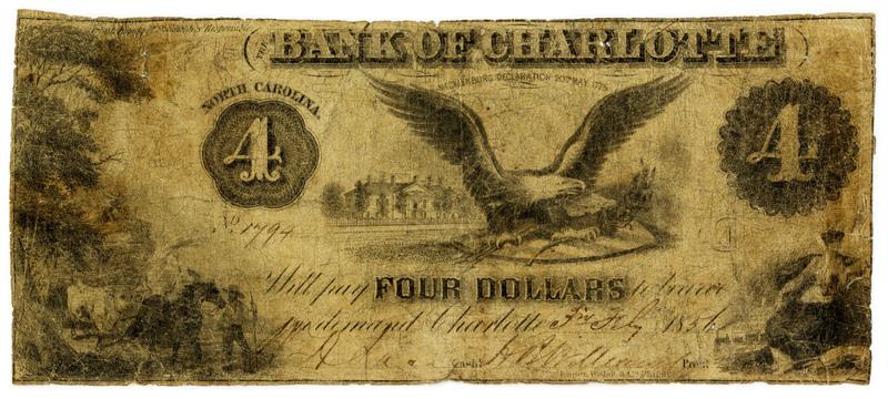 Bank of Charlotte $4 bill, 1856