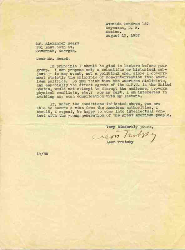 Letter, Leon Trotsky to Alexander Heard, 13 August 1937, Coyoacán, D.F., Mexico.