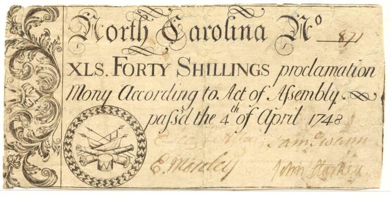 1748 40 shillings paper money