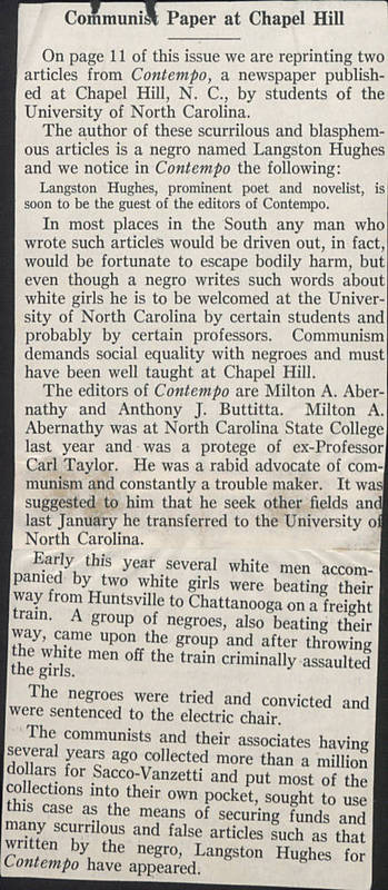 "<span>Article, ""Communist Paper at Chapel Hill,"" Southern Textile Bulletin, 10 December 1931</span>"