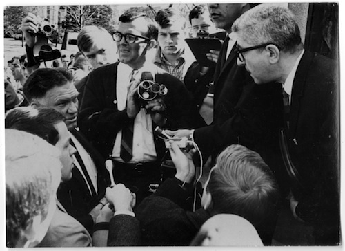 Photo, Herbert Aptheker and Police Chief Arthur J. Beaumont, 9 March 1966, Chapel Hill, N.C.