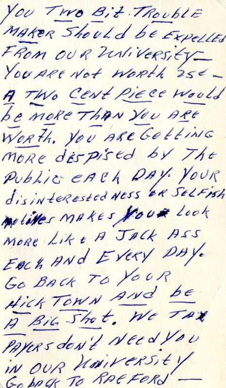 Postcard, Anonymous to Paul Dickson, 6 March 1966, Charlotte, N.C.