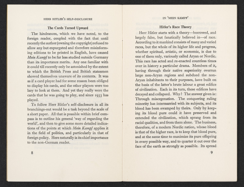 Pages 8 and 9 of Mein Kampf by R. C. K. Ensor