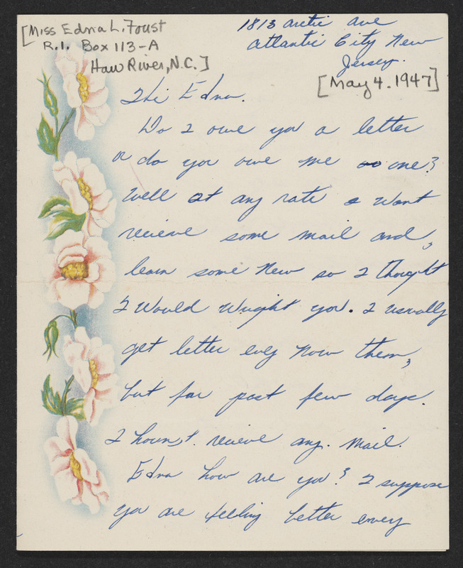 Letter from Mary Lee Morrow to Edna Lee Foust