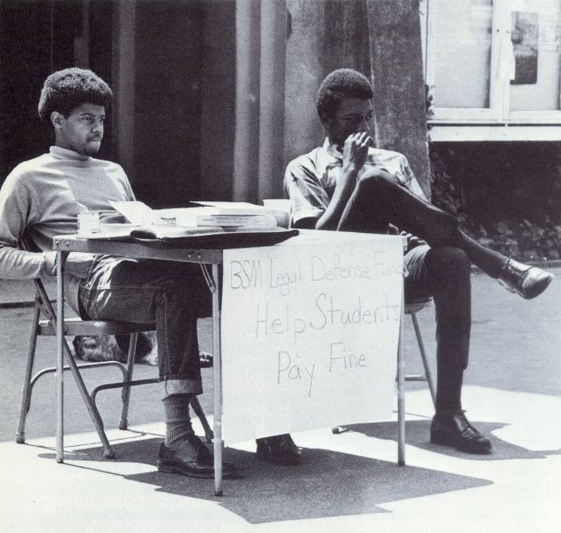 Photograph, BSM members collecting money to pay fines levied against those arrested for turning over tables in Lenoir