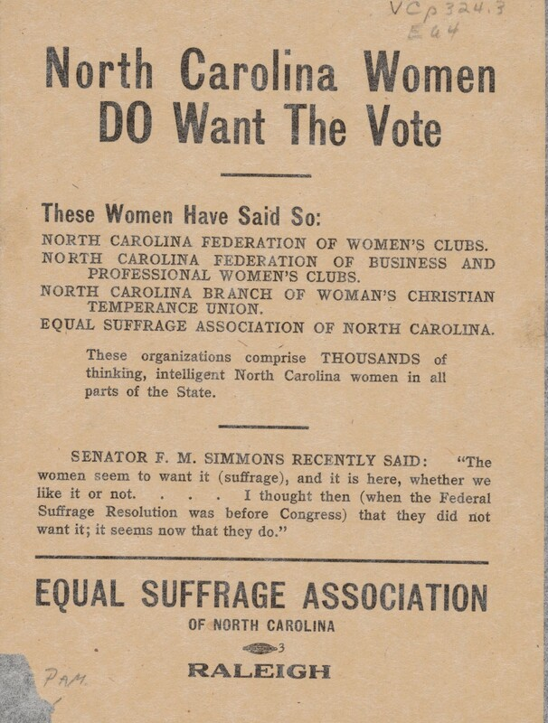 NC Women - Flyer, Equal Suffrage Association of NC