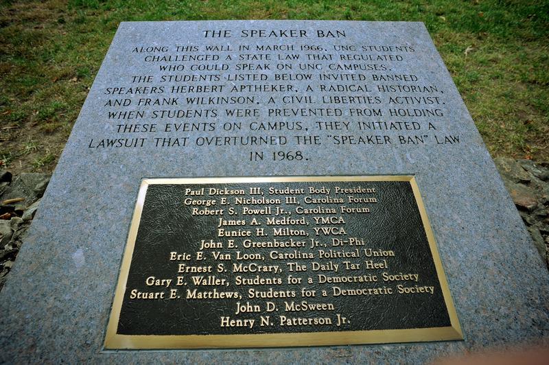 Photo, Speaker Ban Marker, Chapel Hill, N.C.