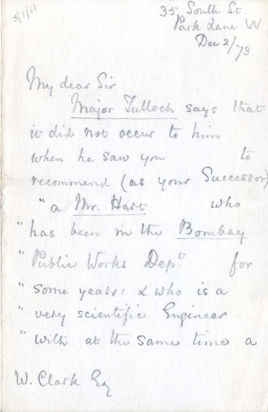 Letter to William Clark: 2 December 1873, page 1