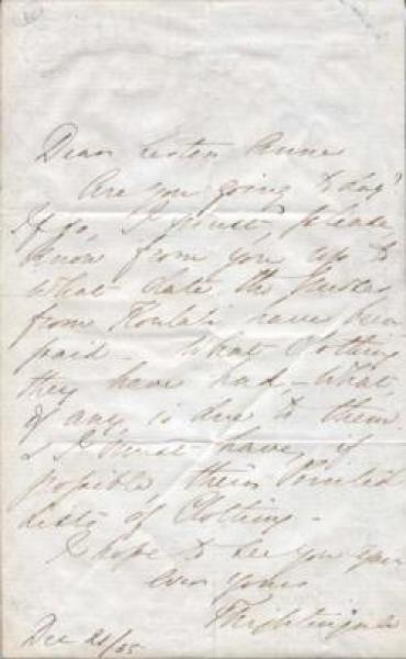 Letter to Sister Anne: 21 December 1855