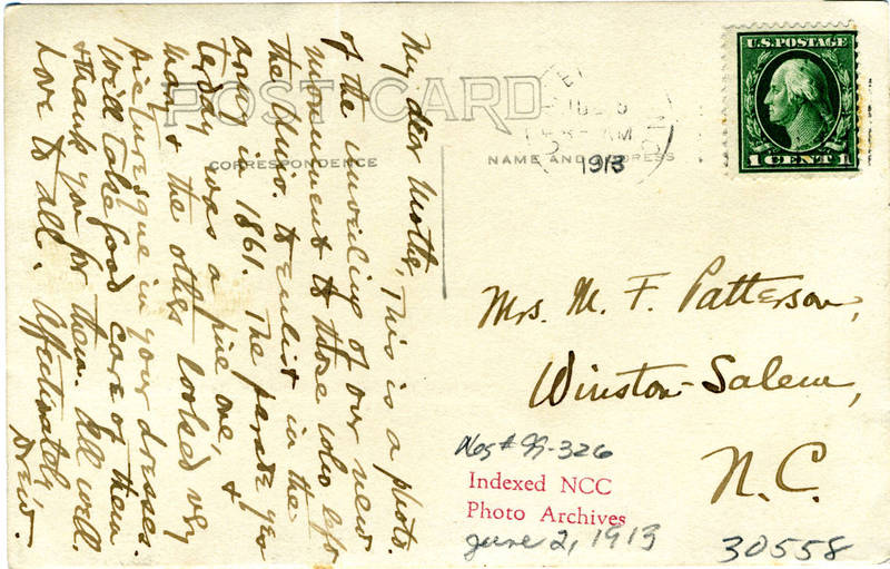 Unveiling, 1913 (back of postcard with handwritten note and address)