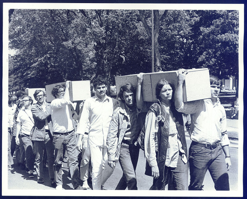 May 1970 - Students march down Franklin Street carrying empty coffins following the Kent State tragedy