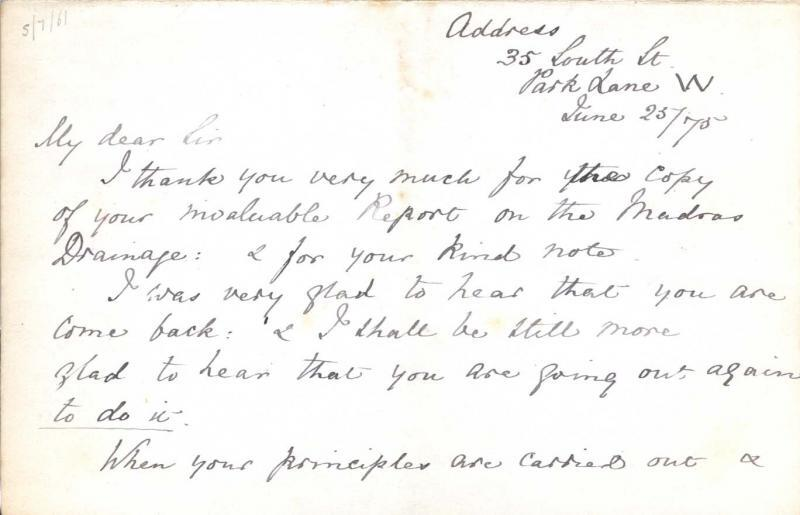 Letter to William Clark: 25 June 1875, page 1