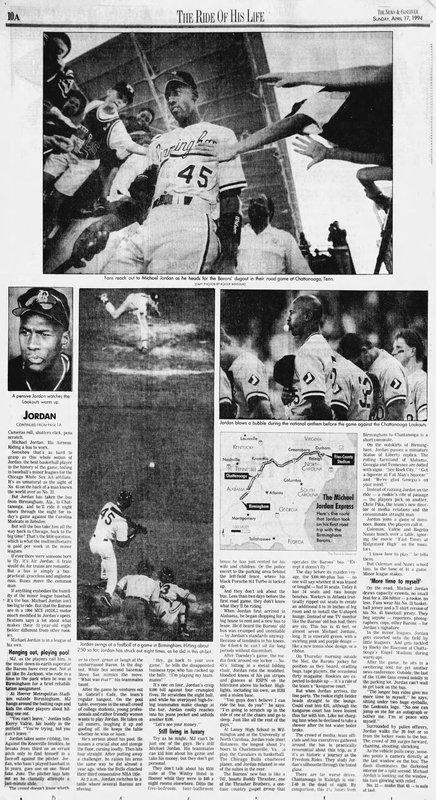 News & Observer Apr 17, 1994 - Michael Jordan in baseball