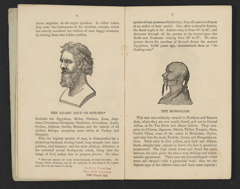 """Pages 6 and 7 of The Adamic Race: A Reply to """"Ariel"""" by S.M. with illustrations showing """"The Adamic Race"""" and """"The Mongolian"""" race"""