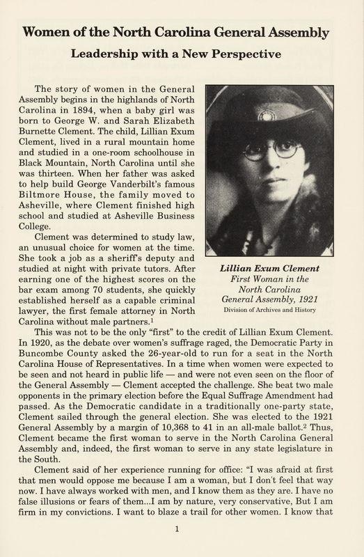 Lillian Exum Clement bio and photo