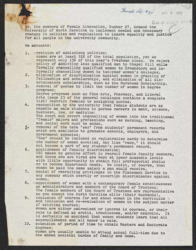 Female Liberation #27 demands, 1970