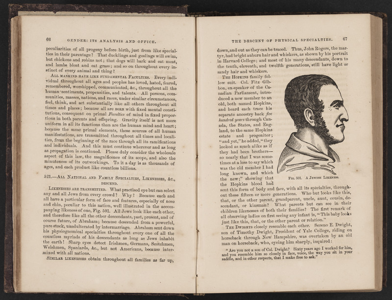 """Pages 66 and 67 open to an illustration entitled """"Jewish likeness"""" in Creative and Sexual Science by O. S. Fowler"""