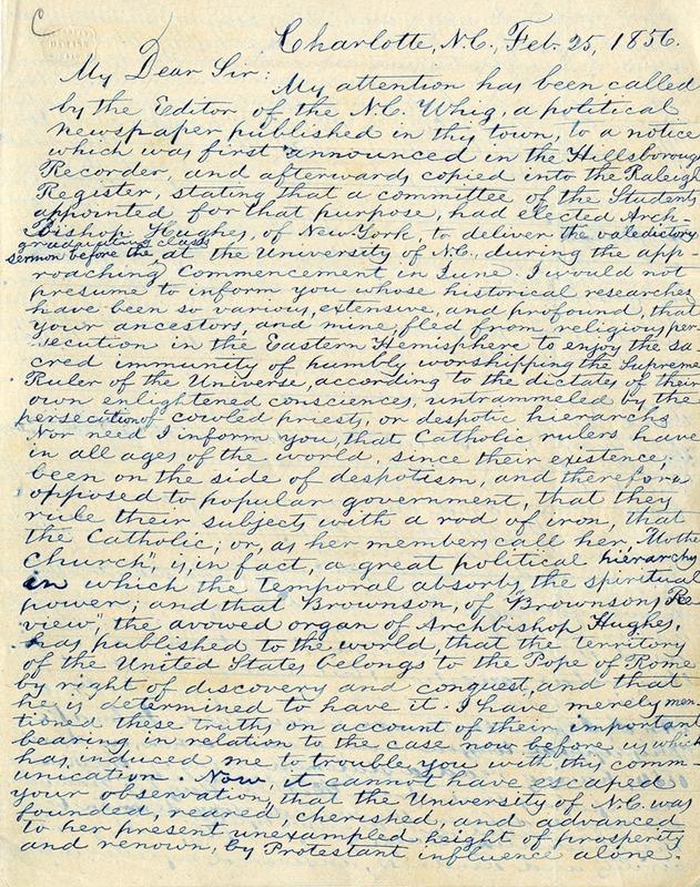 Letter, Robert G. Allison to David L. Swain, February 25, 1856