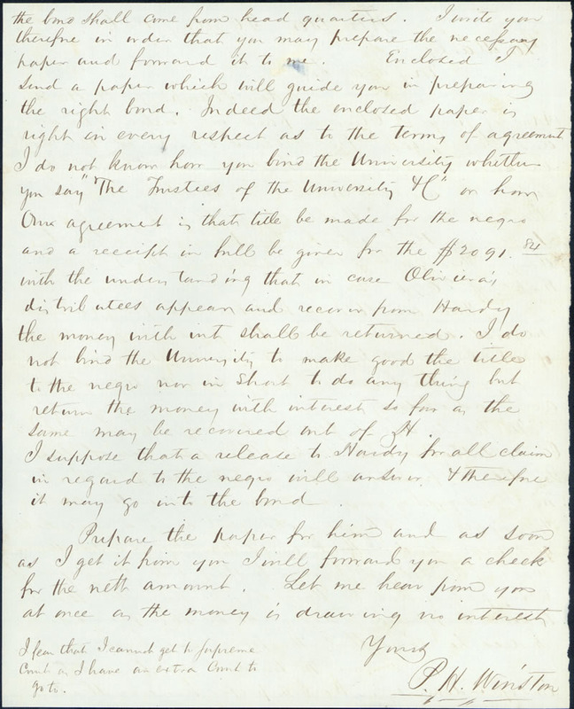 30 May 1856. P. H. Winston to Charles Manly.