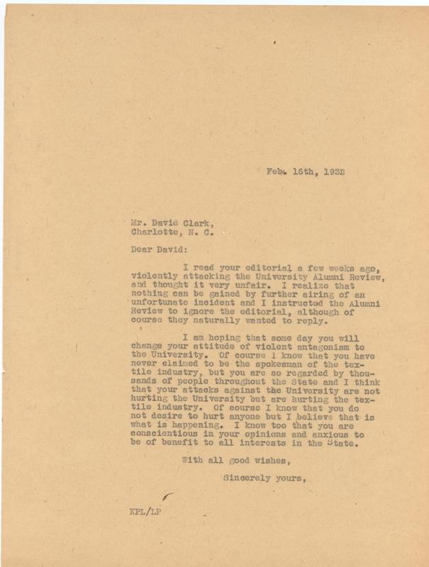 Letter, Kemp Plummer Lewis to David Clark