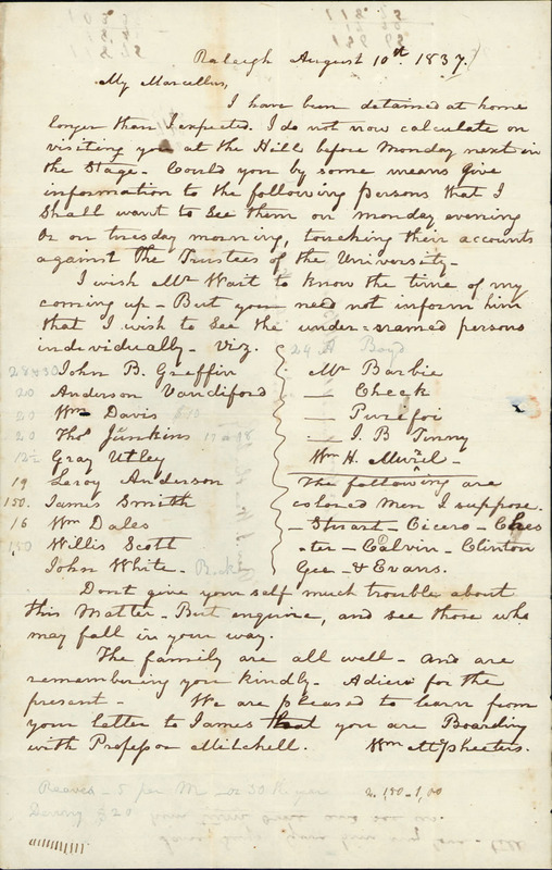 10 August 1837. William McPheeters to Marcellus McPheeters.