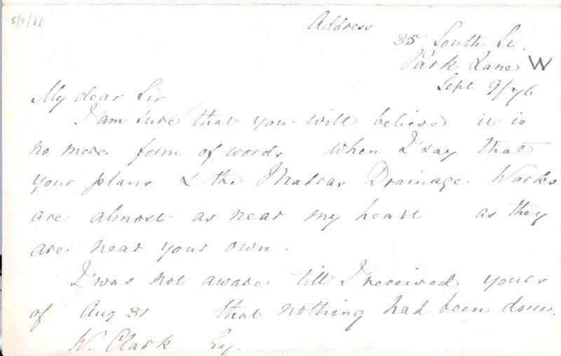 Letter to William Clark: 9 September 1876, page 1