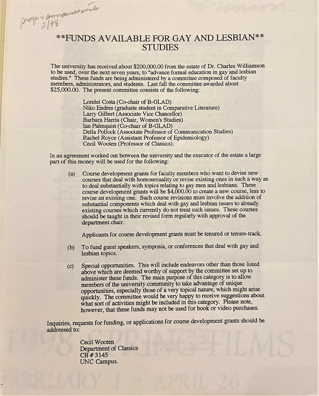 Notice about funding for Gay & Lesbian Studies classes, 1998