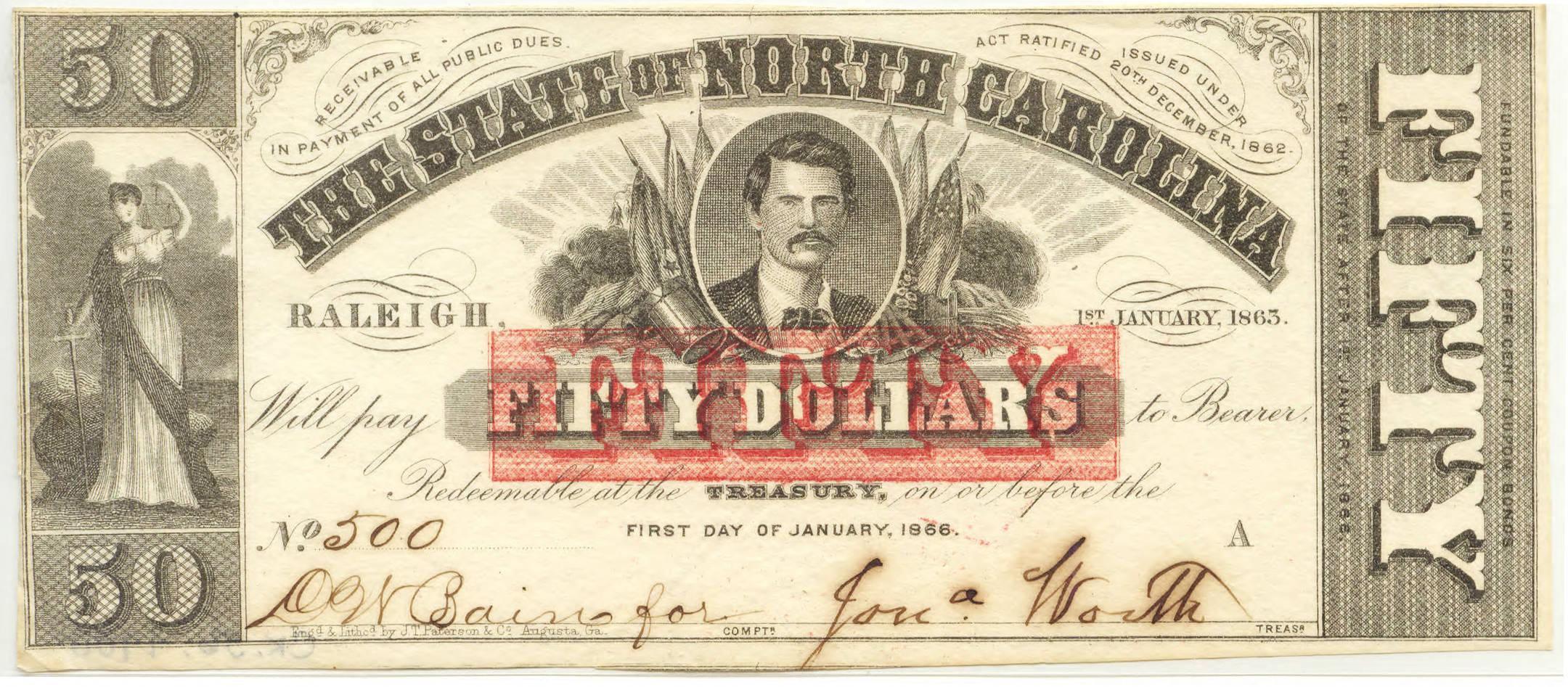 North Carolina Civil War treasury note, $50, 1863