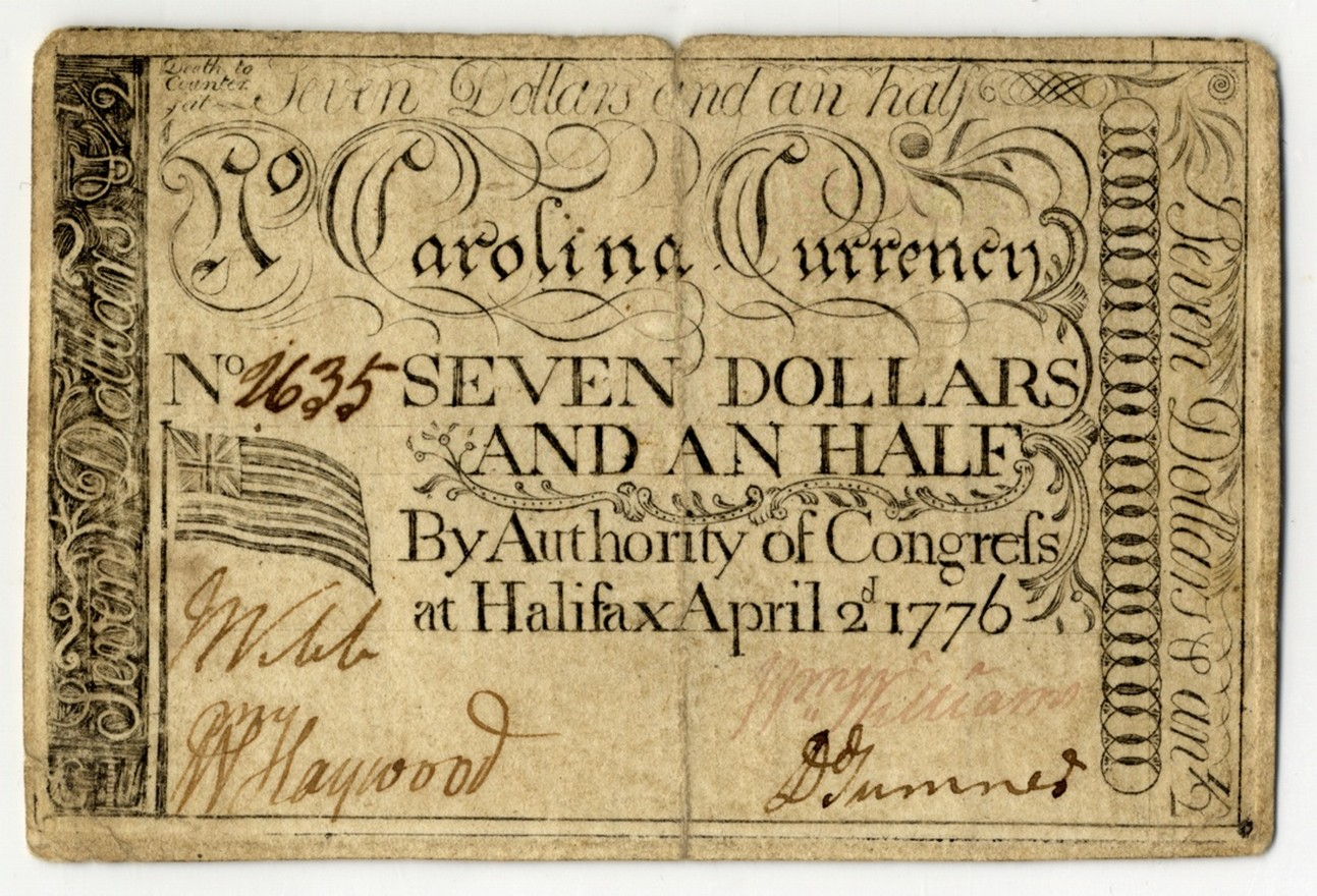 Grand Union flag on 1776 paper money