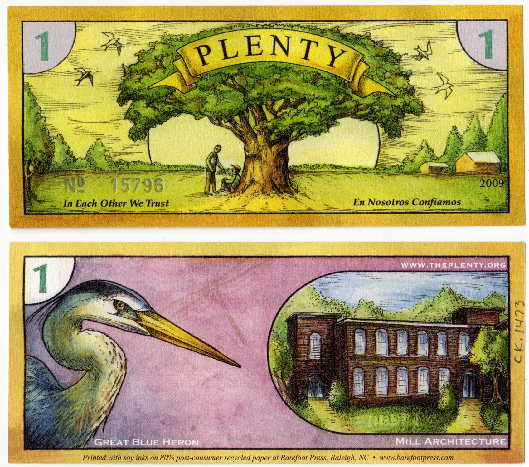 North Carolina PLENTY local currency, 2002
