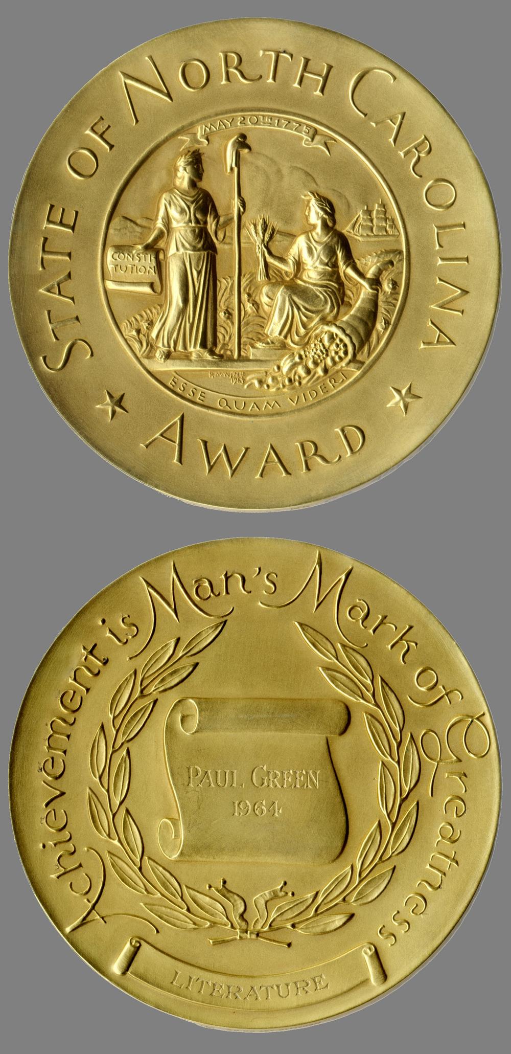 The North Carolina Award medal, to Paul Green, 1964
