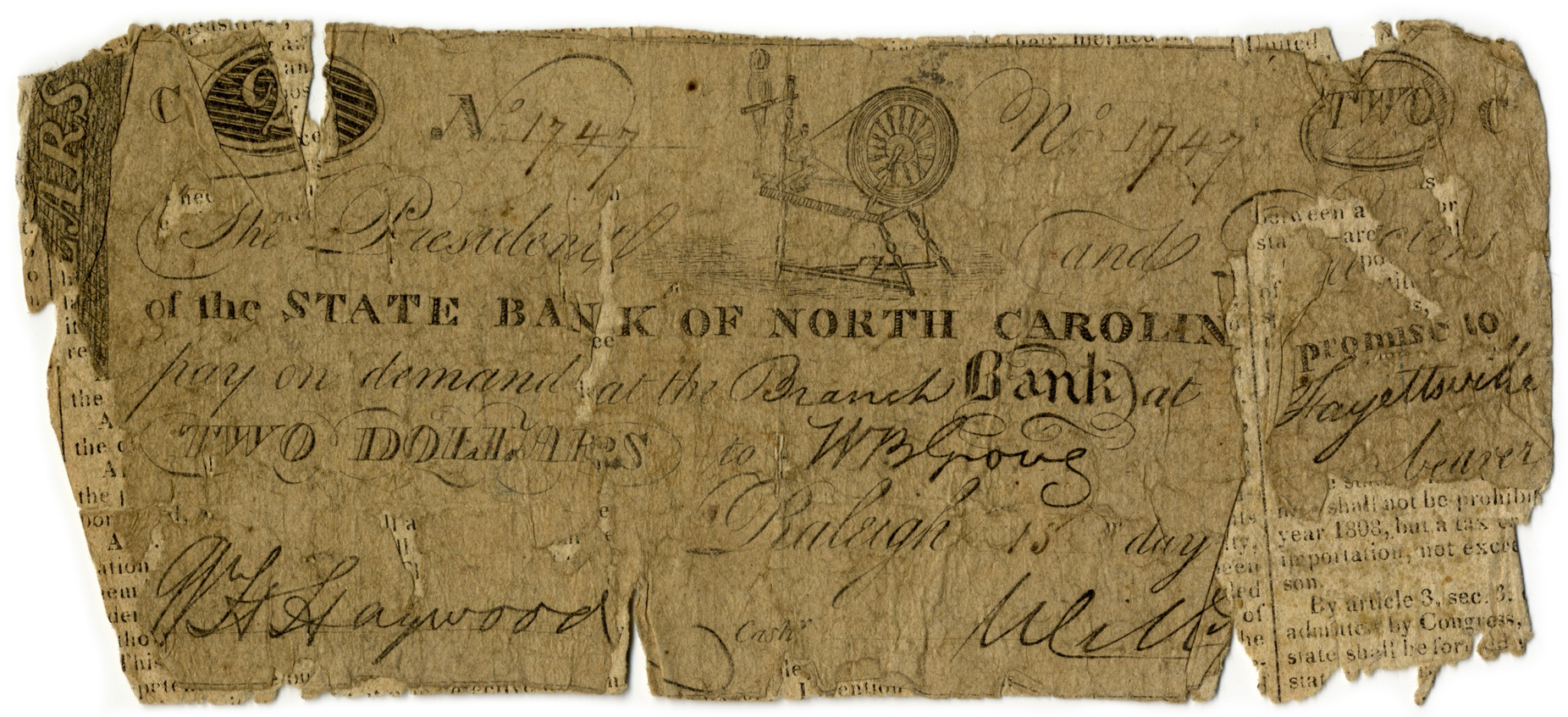 The State Bank of North Carolina $2, 1816 or 1817