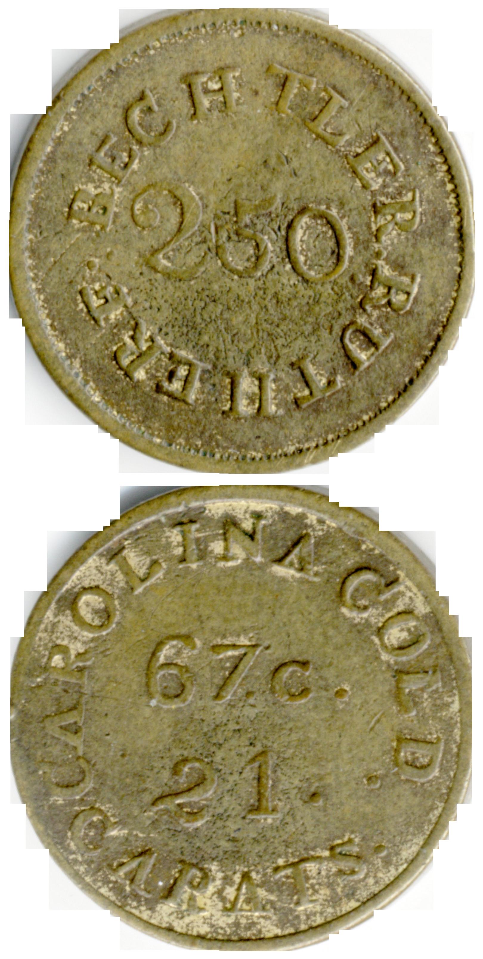 Bechtler $2.50 gold coin, counterfeit