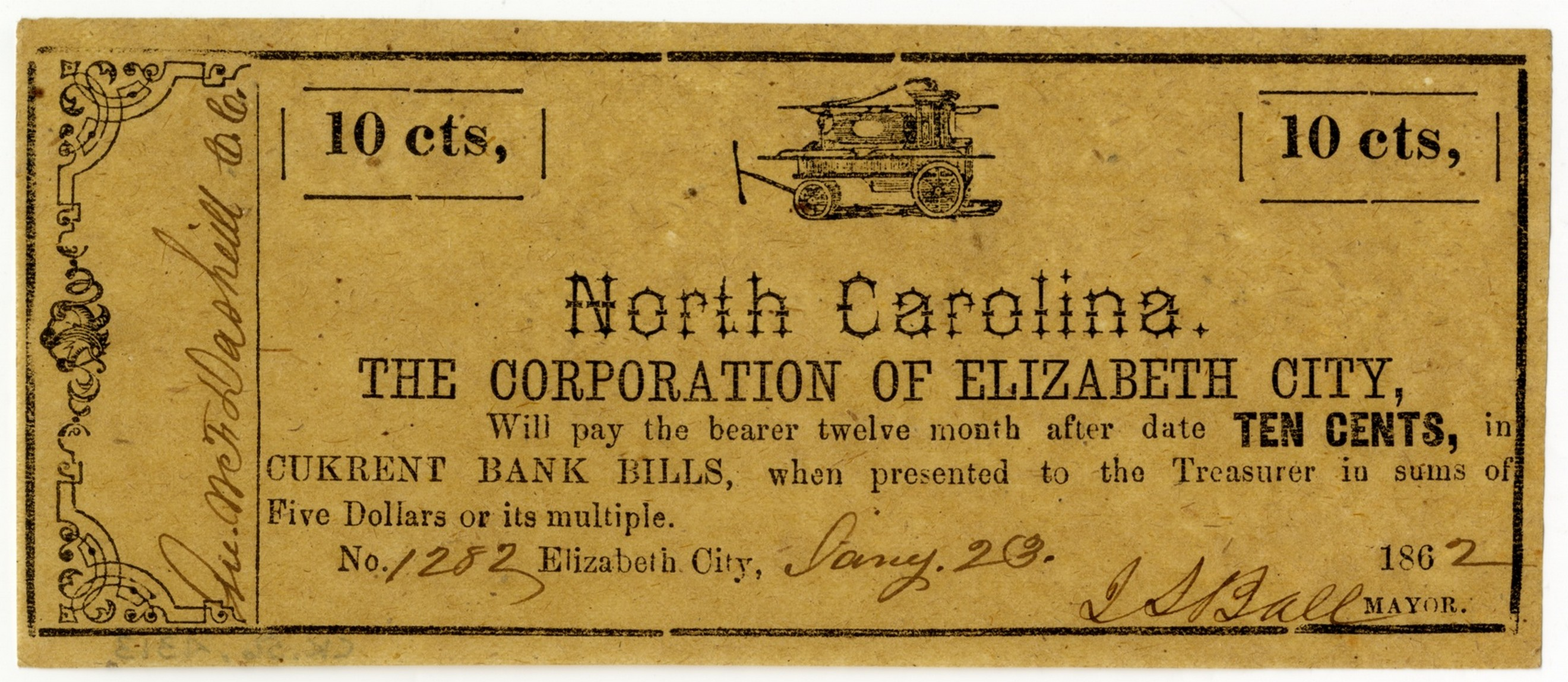10 cent note issued by Elizabeth City, 1862