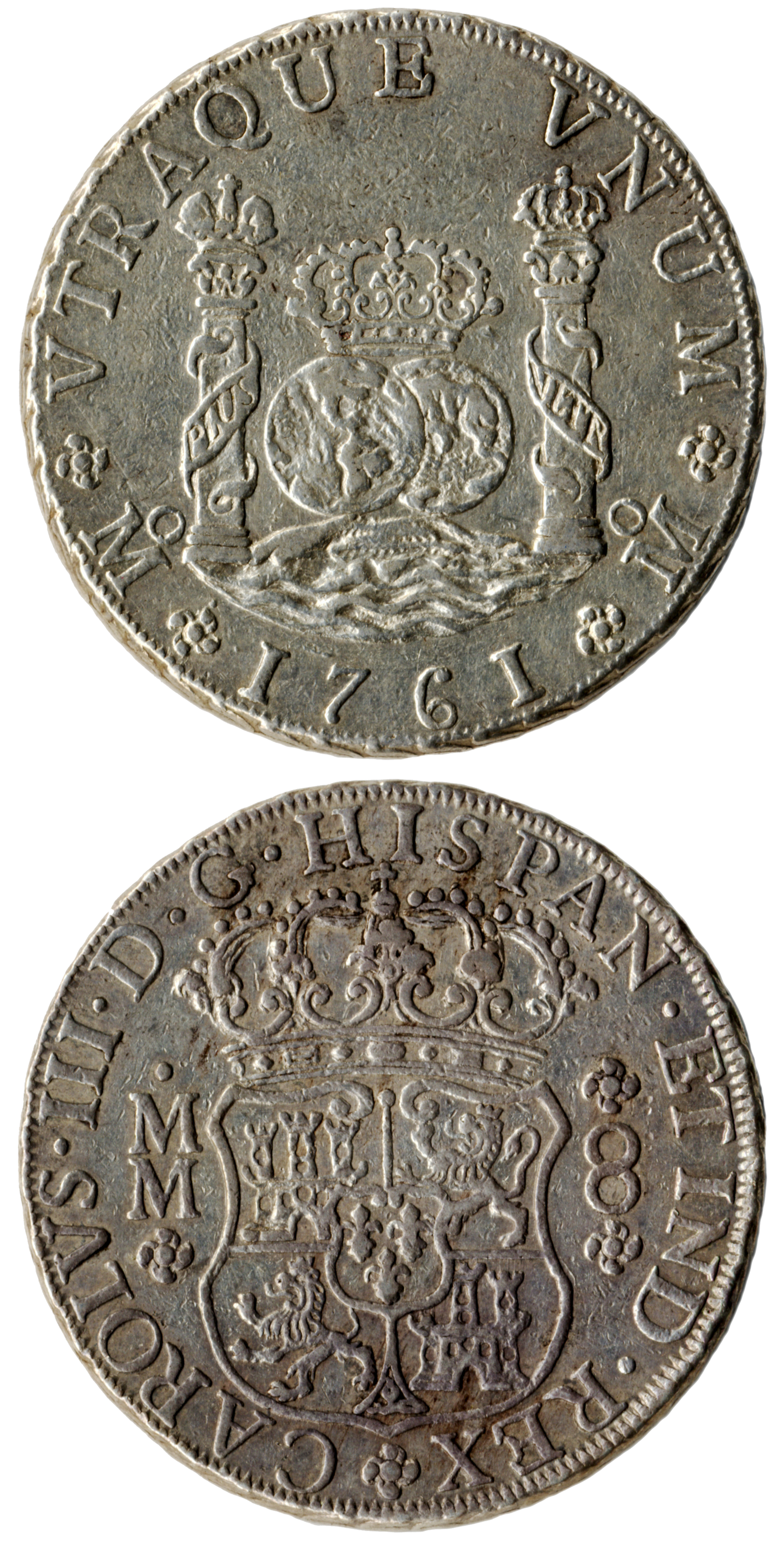 Mexican (Spanish colonial) eight reales coin, 1761