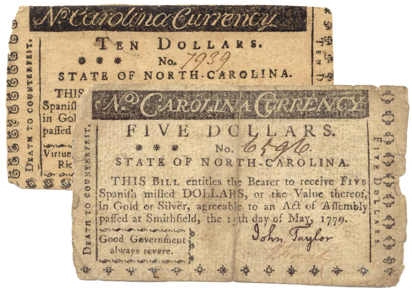 A pair of North Carolina 1779 notes