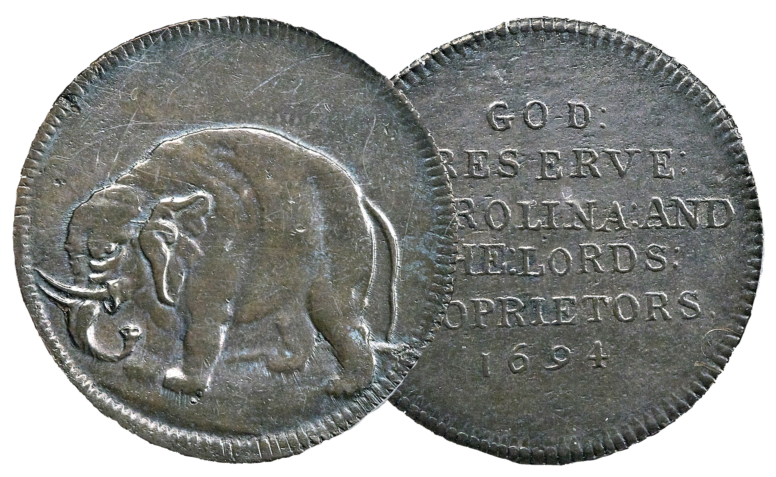 Genuine Carolina elephant token, 1694