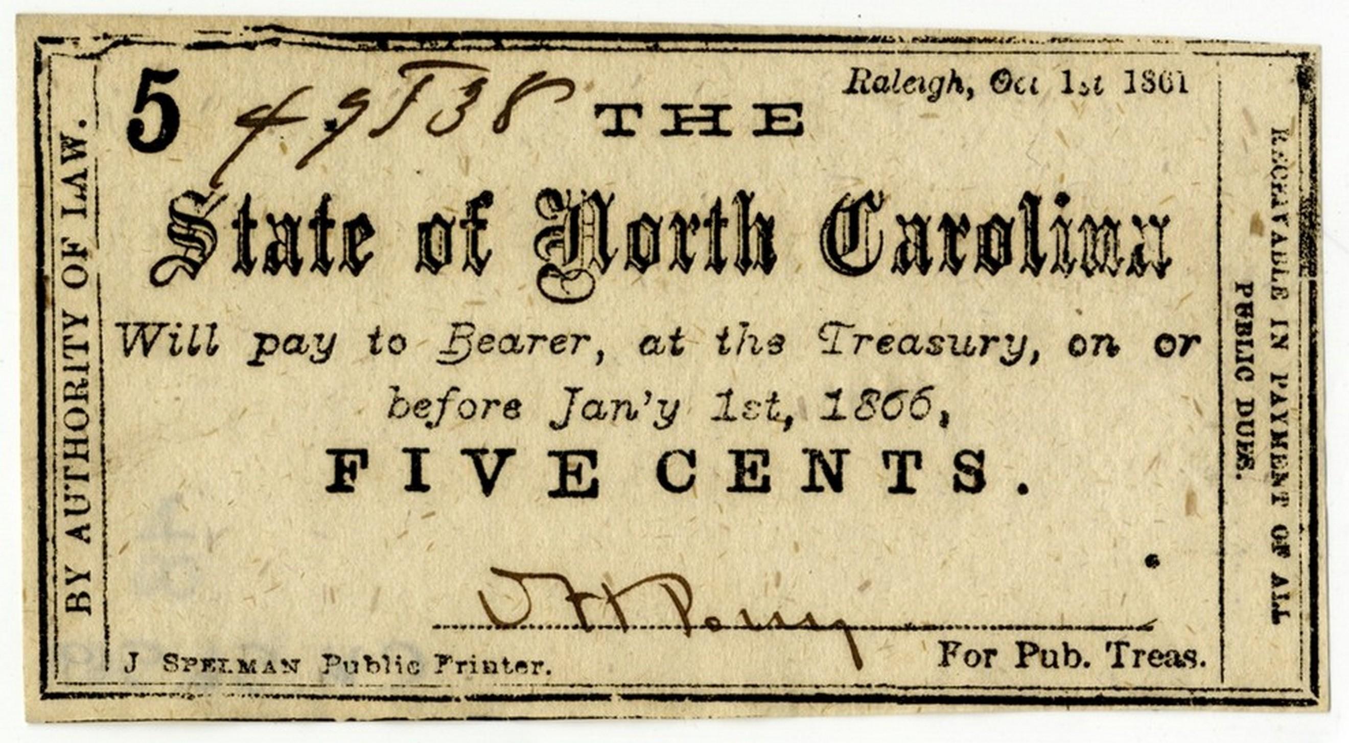 North Carolina 5 cent  treasury note, 1861