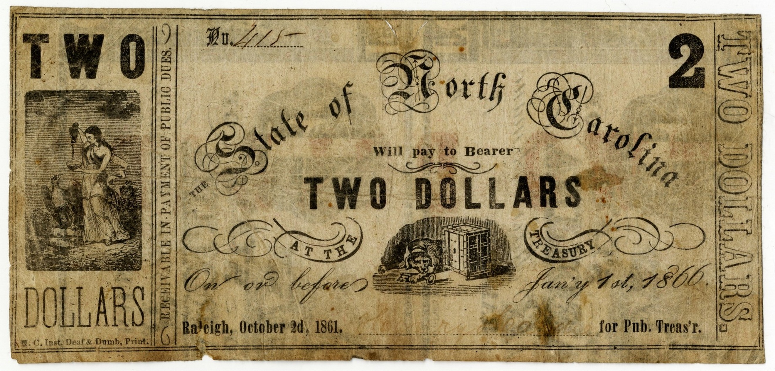North Carolina Civil War treasury note $2 printed by the N.C. Inst. for the Deaf & Dumb