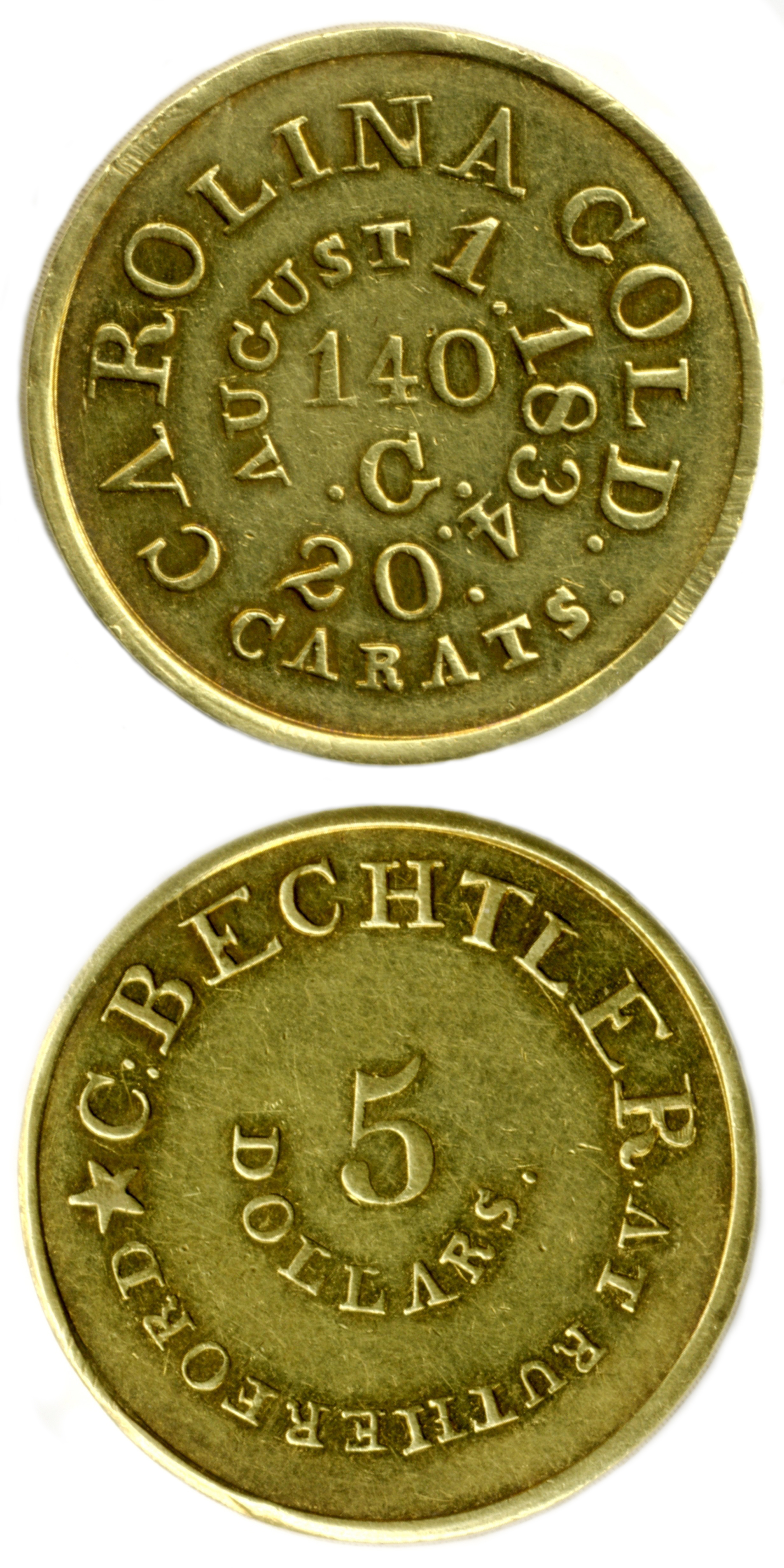 Christopher Bechtler $5 gold coin circa 1834