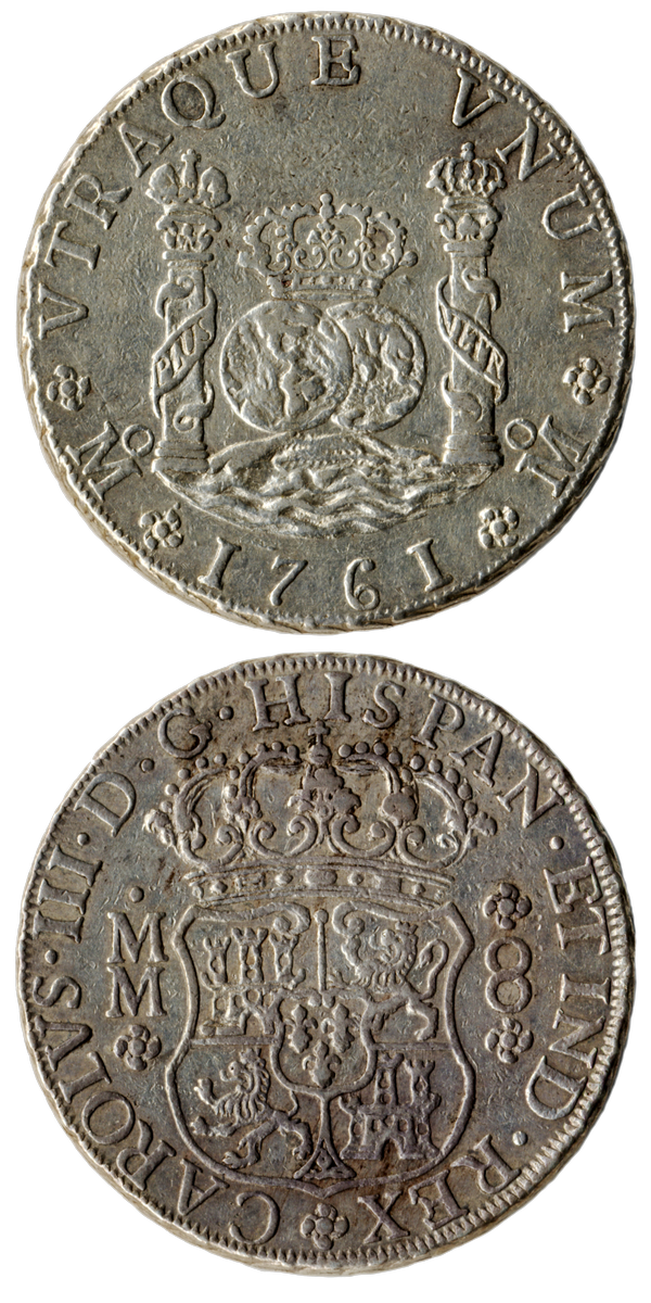 Front of Spanish colonial (Mexico) 8 reales, 1761