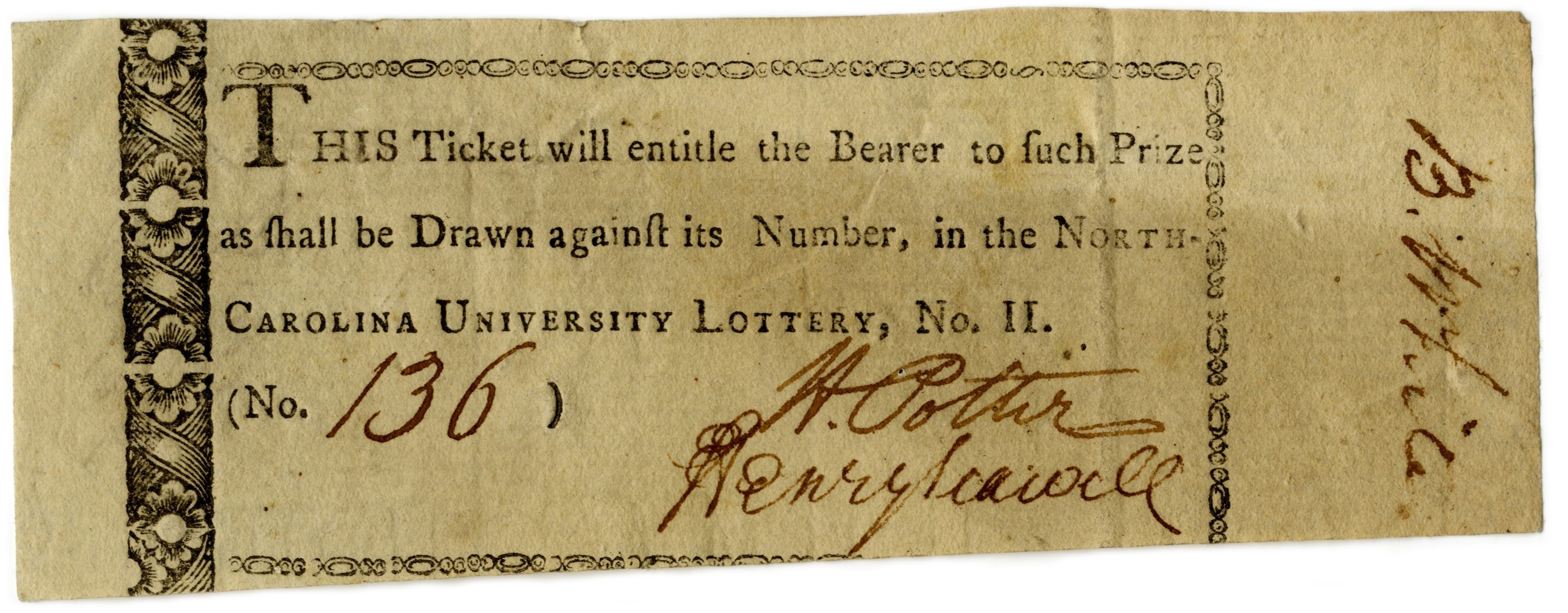 University of North Carolina lottery ticket, 1801