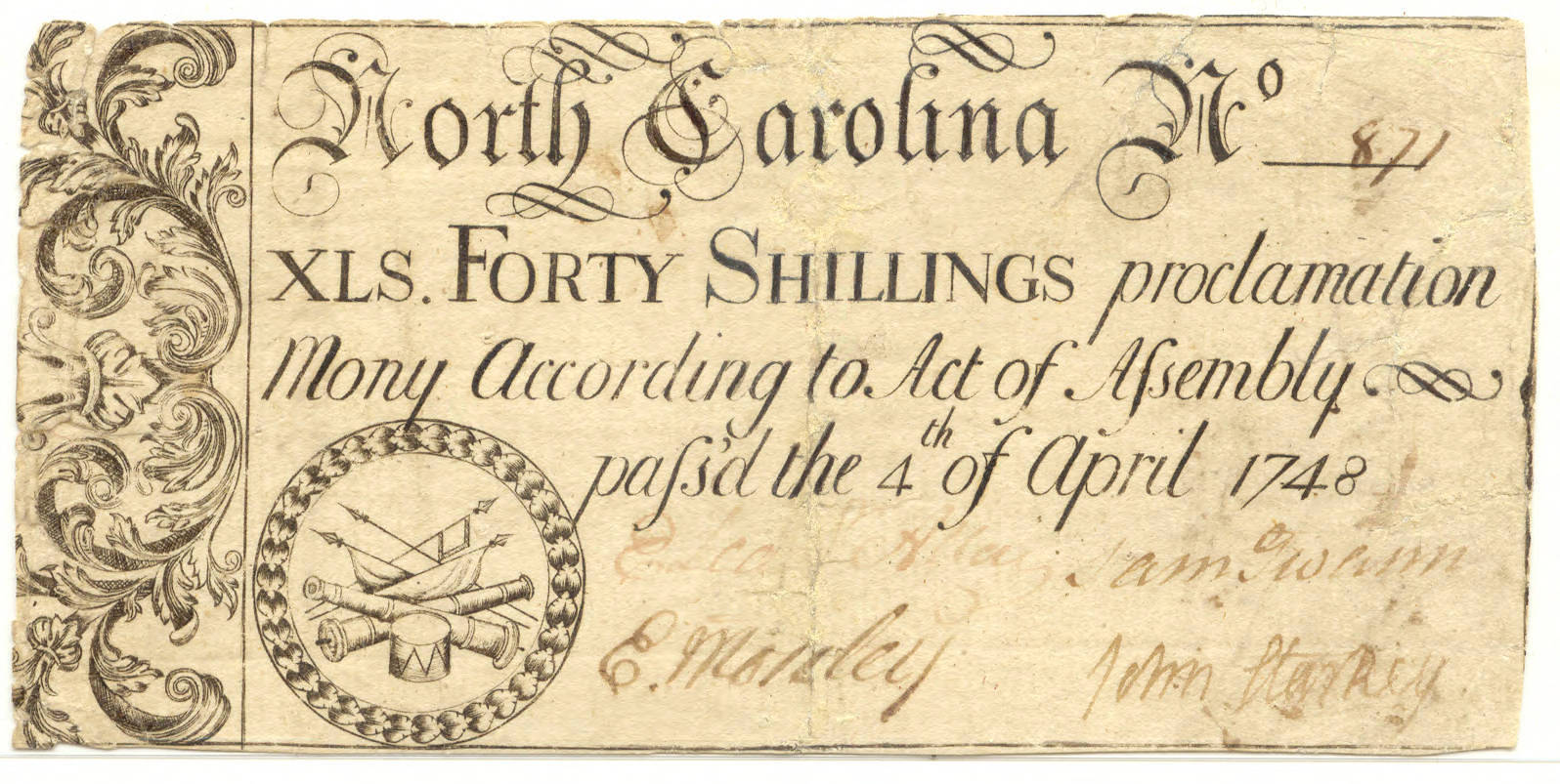 Forty shillings paper money, 1748