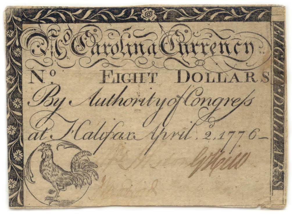 North Carolina paper money $8, 1776