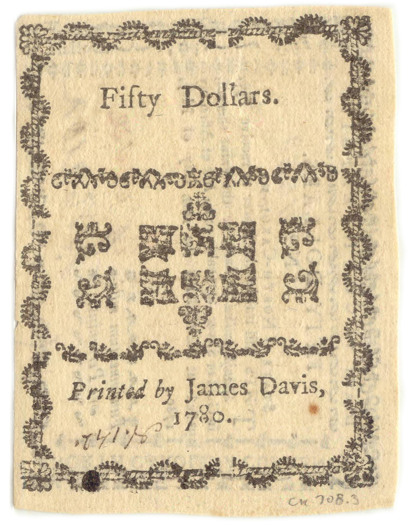North Carolina paper money $50, 1780, back