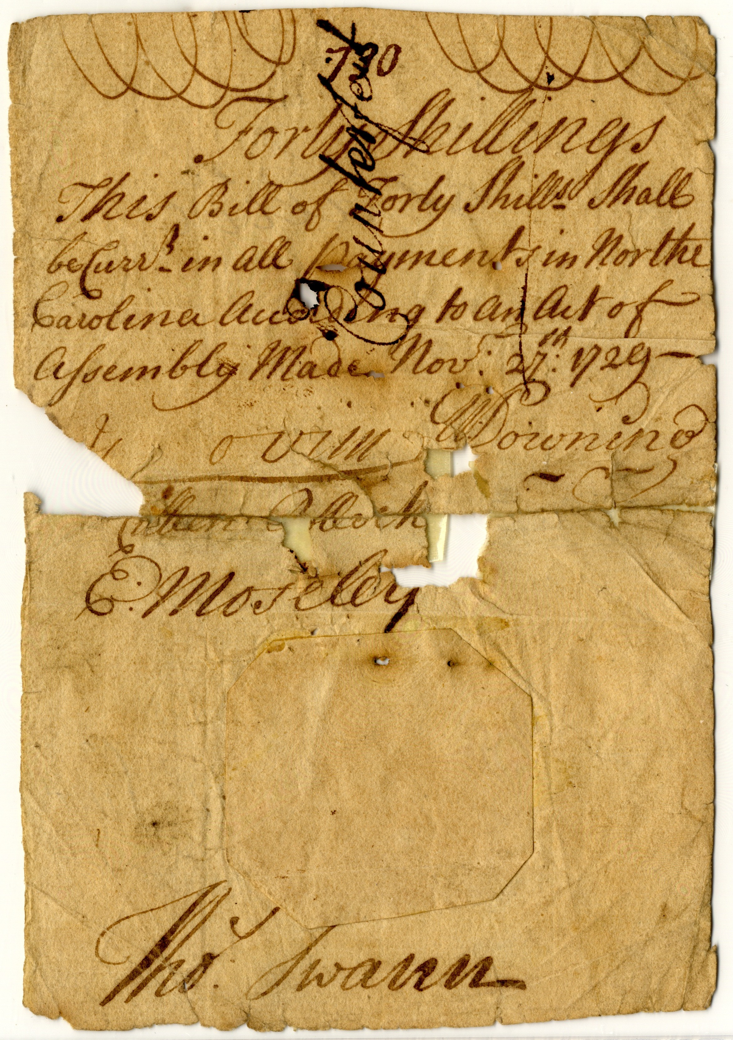 North Carolina 1729 40 shillings paper money